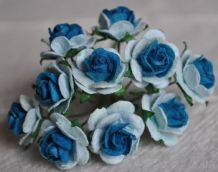 1.5cm LIGHT BLUE TURQUOISE CENTER Mulberry Paper Roses